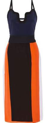 Victoria Beckham Victoria Color-Block Silk Crepe De Chine Midi Dress