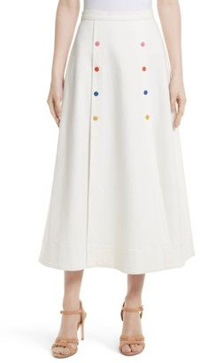 Women's Saloni Candy Stretch Cotton Midi Skirt $345 thestylecure.com