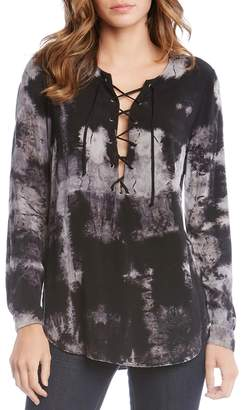 Fifteen-Twenty Fifteen Twenty Lace-Up Tie-Dye Top