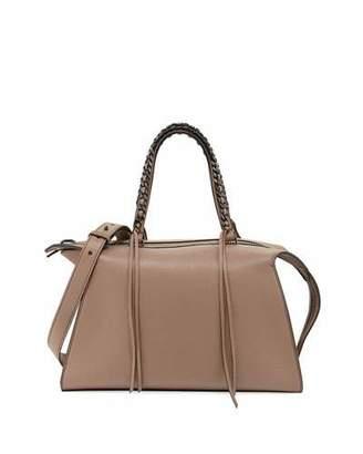 Elena Ghisellini Gabria Madras Medium Leather Satchel Bag, Taupe $1,450 thestylecure.com