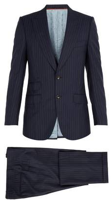 Gucci Pinstriped Wool Suit - Mens - Navy