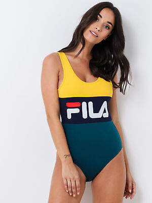 Fila New Womens Bodysuit In Yellow Navy Green Bodysuits Athletics Exclusives