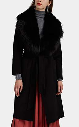 ddc3c9325046 Barneys New York Women's Fur-Trimmed Wool Belted Coat - Black