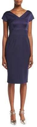 Escada Eve Satin-Bodice Sheath Dress, Deep Sea