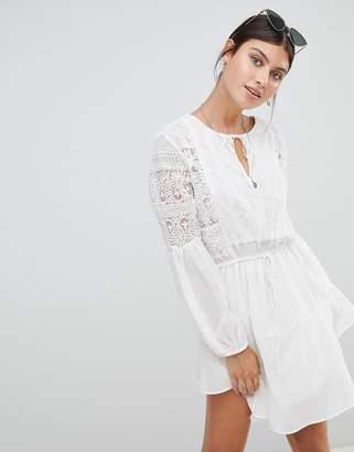 boohoo Crochet Insert Smock Dress