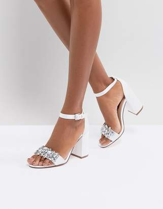 London Rebel Bridal Barely There Satin Block Heel Sandal