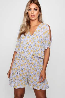 boohoo Plus Woven Floral Layered Playsuit