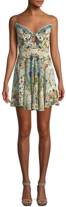 Camilla Embellished Tie-Front Sleeveless Mini Dress