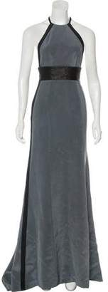 Kaufman Franco KAUFMANFRANCO Leather-Trimmed Silk Dress w/ Tags