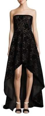 Tadashi Shoji Strapless Laced Hi-Lo Gown