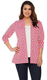 Susan Graver Weekend Jacquard Knit Open FrontCardigan