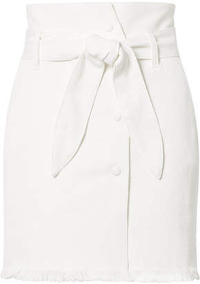 Sedu Nanushka Belted Frayed Stretch-denim Mini Skirt - White