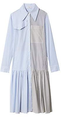 Tibi Women's Pinstripe Colorblock Drop-Hem Shirtdress