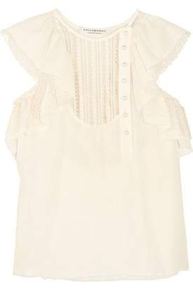 Philosophy di Lorenzo Serafini Ruffled Cotton Swiss-Dot And Lace Blouse
