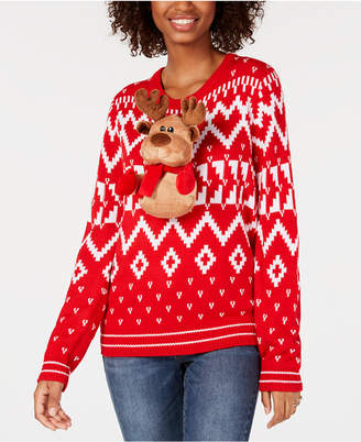 Ultra Flirt Juniors' Stuffed-Santa Printed Sweater