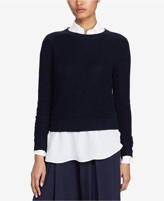 Polo Ralph Lauren Button-Back Crew-Neck Cotton Sweater $198 thestylecure.com