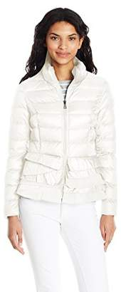 T Tahari Women's Zoey Ruffle Bottom Coat