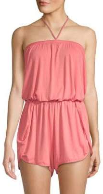 Lucky Brand Tassel Halter Romper Cover-Up