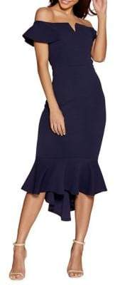 Quiz Bardot Dip-Hem Dress
