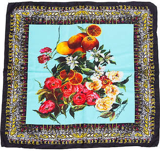 One Kings Lane Vintage Dolce & Gabbana Silk Floral Fruit Scarf - Vintage Lux