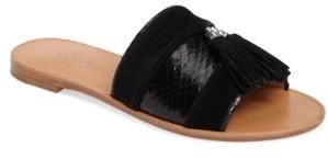 Women's Pour La Victoire Lake Genuine Snakeskin Slide Sandal $194.95 thestylecure.com