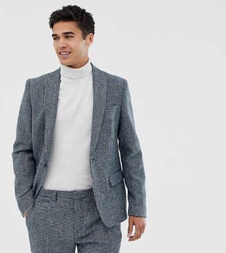 Noak slim fit harris tweed suit jacket in blue