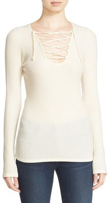 Women's Autumn Cashmere Ribbed Lace-Up Top $231 thestylecure.com