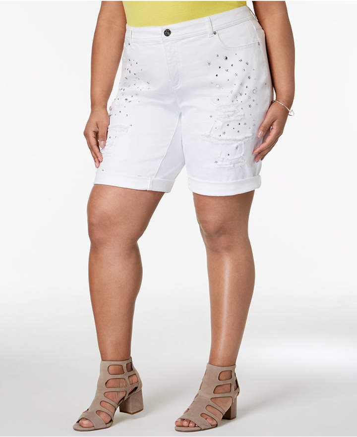 I.n.c. Plus Size Star-Studded Bermuda Shorts, Created for Macy's