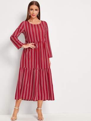 Shein Vertical-striped Ruffle Hem Longline Dress