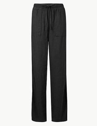 Marks and Spencer Linen Rich Jersey Wide Leg Trousers