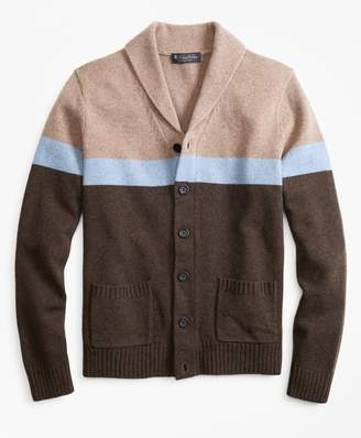 Brooks Brothers Merino Wool Color-Block Shawl Collar Cardigan