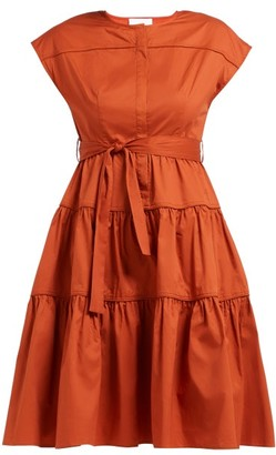 Binetti Love Simple Minds Tie Waist Tiered Cotton Dress - Womens - Dark Orange