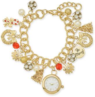 Charter Club Holiday Lane Gold-Tone Crystal, Stone & Imitation Pearl Watch Charm Bracelet