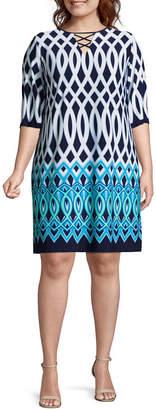 Studio 1 3/4 Sleeve Geo Linear Shift Dress - Plus