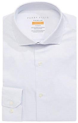 Perry Ellis Slim Fit Grid-Print Dress Shirt