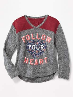 Old Navy Graphic Football-Style Linen-Blend Tee for Girls
