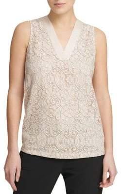 Donna Karan Lace Overlay Sleeveless Top