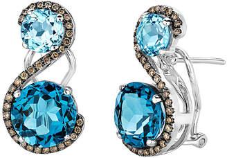 LeVian Le Vian 14K 8.09 Ct. Tw. Diamond & Blue Topaz Drop Earrings