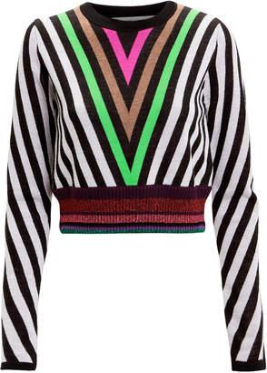 Diane von Furstenberg Lurex Hem Chevron Sweater