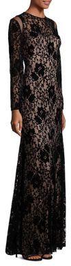Tadashi Shoji Long Sleeve Lace Gown $508 thestylecure.com