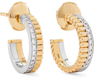 Boucheron Quatre Radiant Edition 18-karat Yellow And White Gold Diamond Hoop Earrings