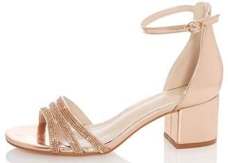 Quiz Rose Diamante Low Block Heels