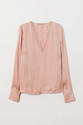 H&M Satin Blouse with Lace - Orange