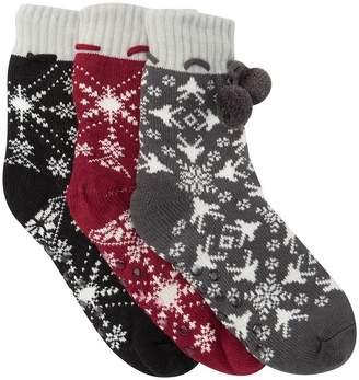Sock Hub Pompom Trim Slipper Socks - Pack of 3
