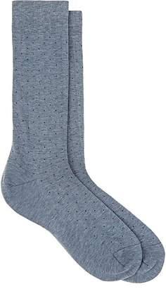 Barneys New York Men's Pin-Dot Cotton-Blend Mid-Calf Socks