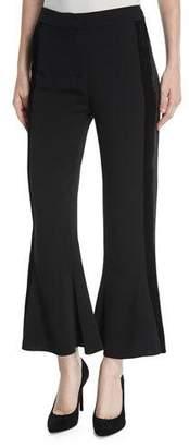 Kobi Halperin Peyton Flared-Leg Crepe Pants w/ Velvet Side Stripe
