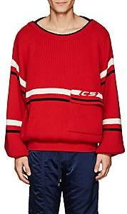 Cmmn Swdn Men's Striped Merino Wool Oversized Sweater - Red