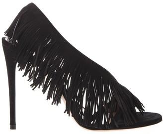 Aquazzura Wild Fringe Black Suede Sandals