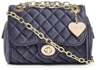 Marc B Dark Blue Velvet 'Knightsbridge' Quilted Shoulder Bag