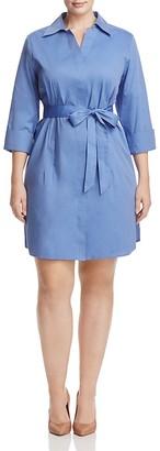 Foxcroft Plus Three-Quarter Sleeve Poplin Shirt Dress $108 thestylecure.com